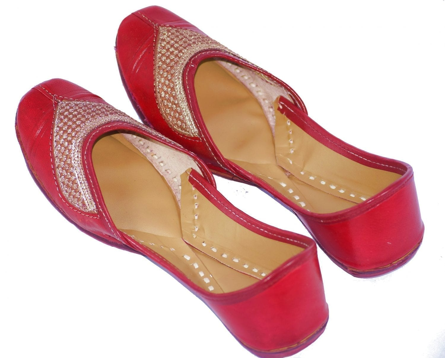 Traditional Embroidered Hand Made Leather Punjabi Jutti Bridal Shoes PJ9763 1
