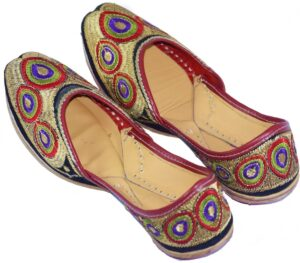 Traditional Embroidered Hand Made Leather Punjabi Jutti Bridal Shoes PJ9769