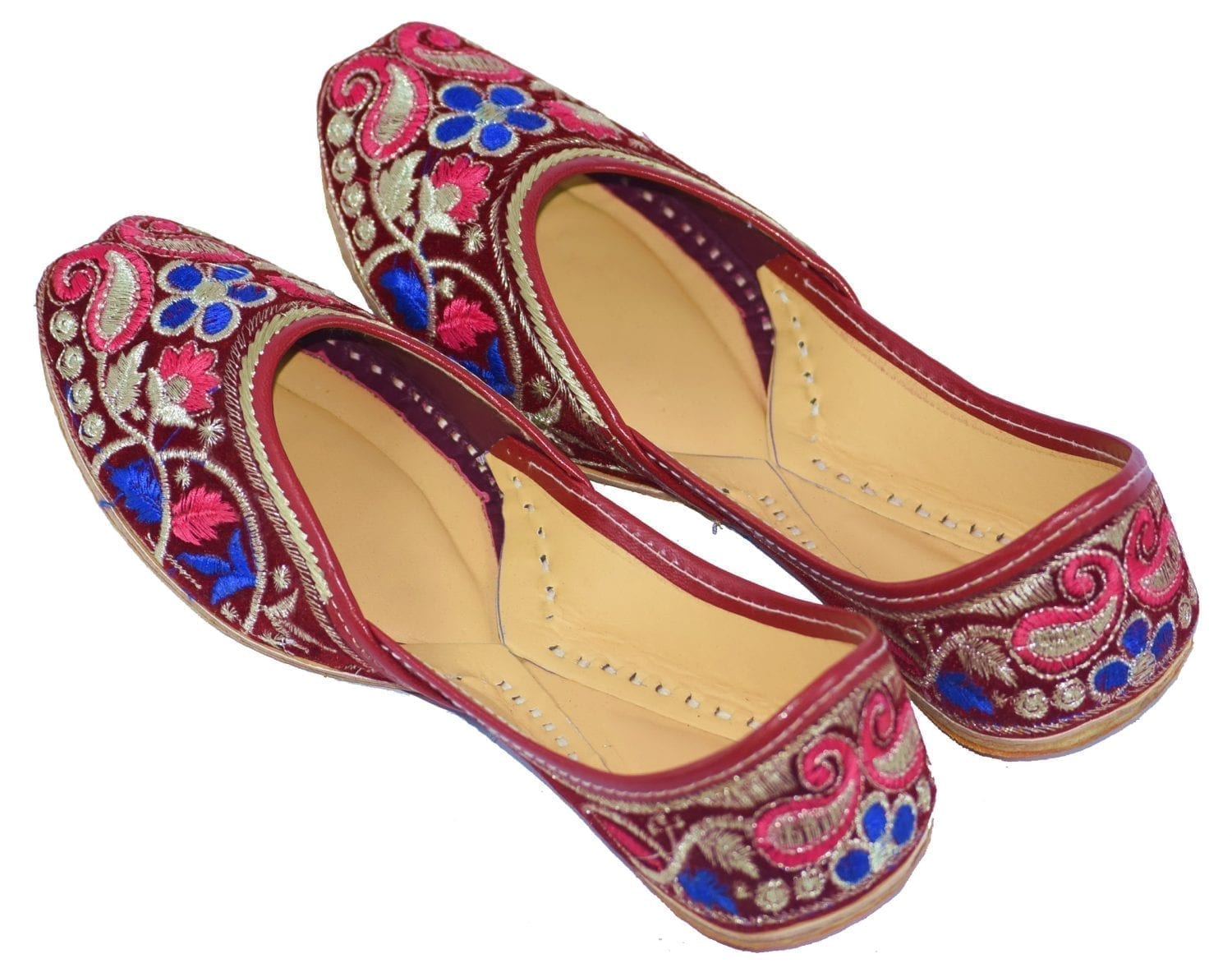 Traditional Embroidered Hand Made Leather Punjabi Jutti Bridal Shoes PJ9773 1