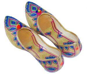 Multicolour Embroidered Desi Punjabi Jutti Party wear Belly Shoes PJ9774