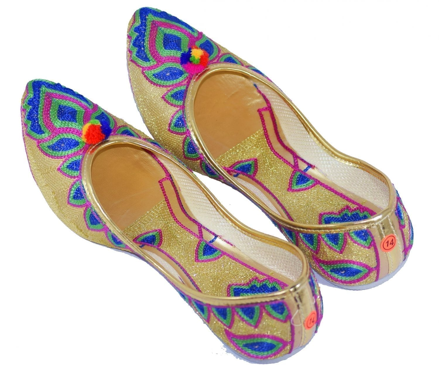 Multicolour Embroidered Desi Punjabi Jutti Party wear Belly Shoes PJ9774 1