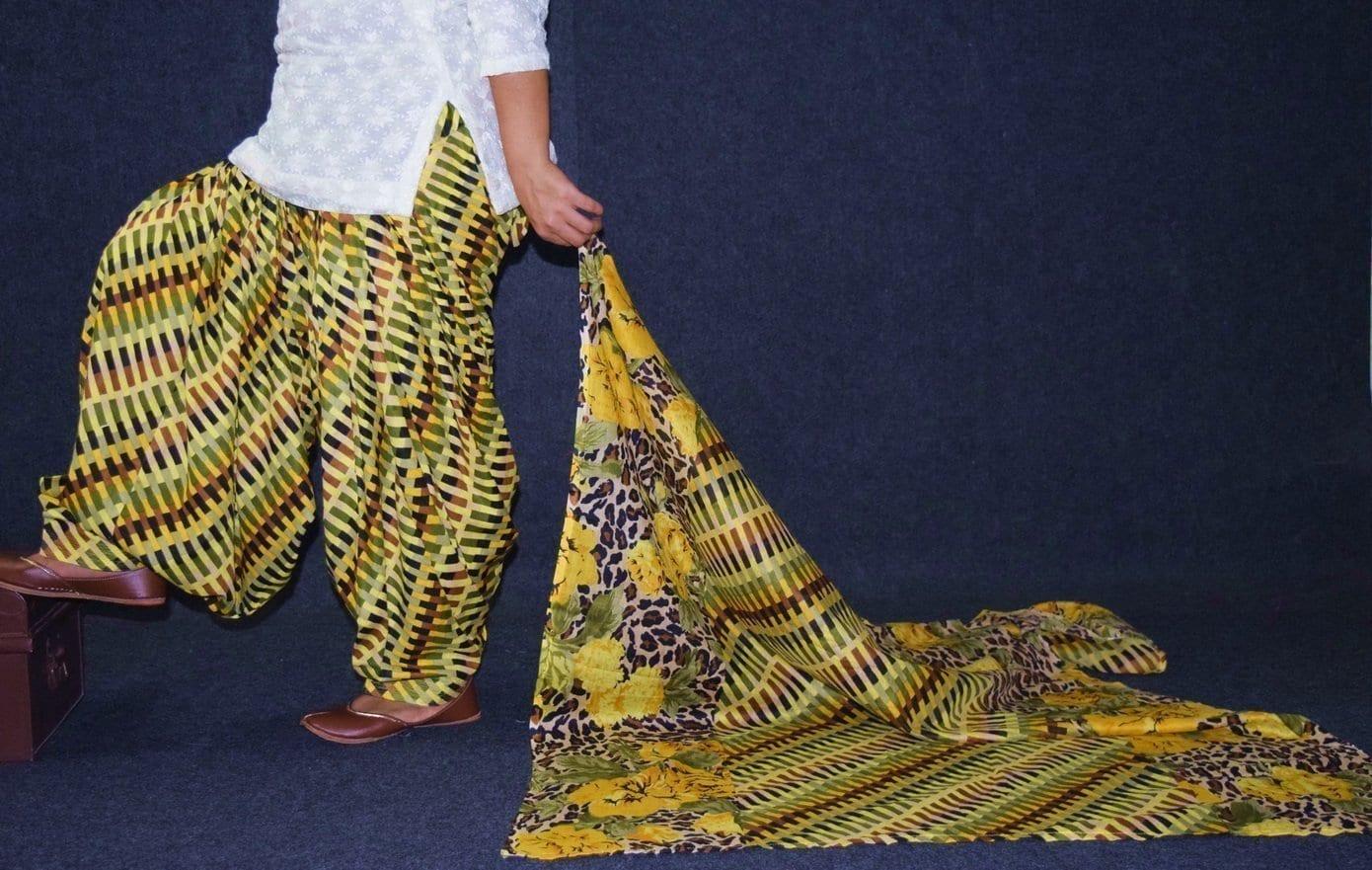 100% Pure Cotton FULL Patiala Salwar + matching cotton printed dupatta PSD174 1