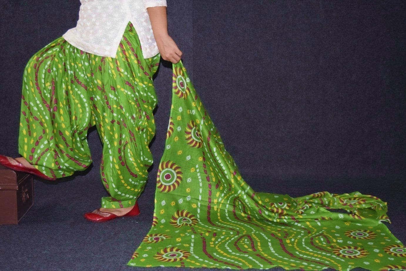 100% Pure Cotton FULL Patiala Salwar + matching cotton printed dupatta PSD175 1