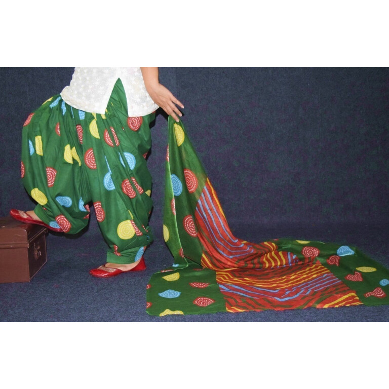 100% Pure Cotton FULL Patiala Salwar + matching cotton printed dupatta PSD178
