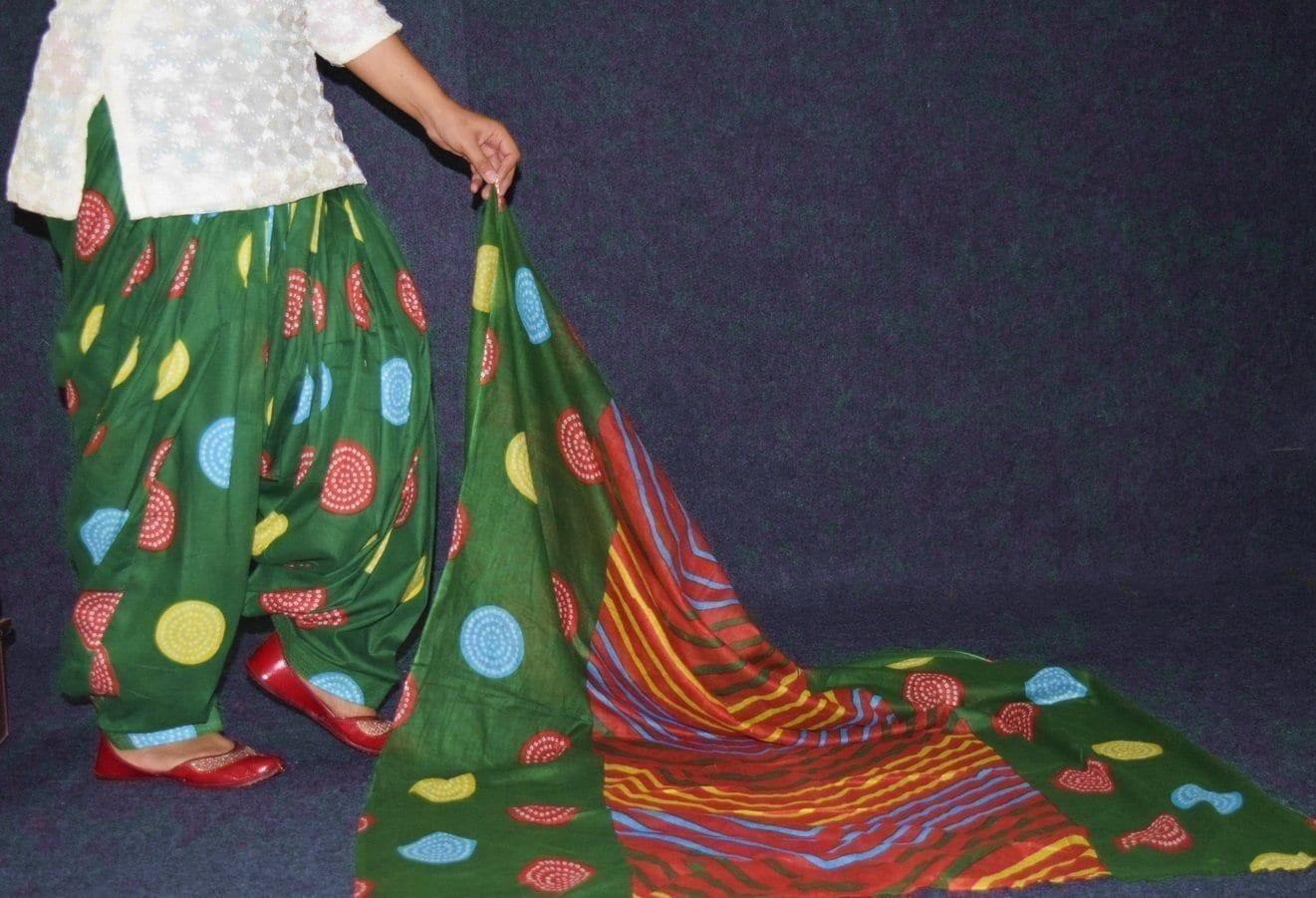 100% Pure Cotton FULL Patiala Salwar + matching cotton printed dupatta PSD178 3