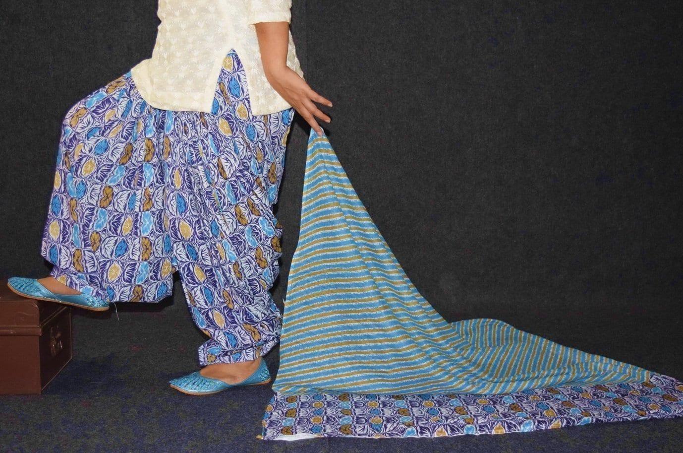100% Pure Cotton FULL Patiala Salwar + matching cotton printed dupatta PSD179 1