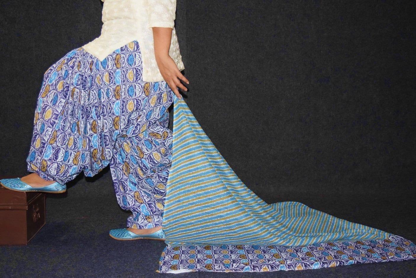 100% Pure Cotton FULL Patiala Salwar + matching cotton printed dupatta PSD179 2