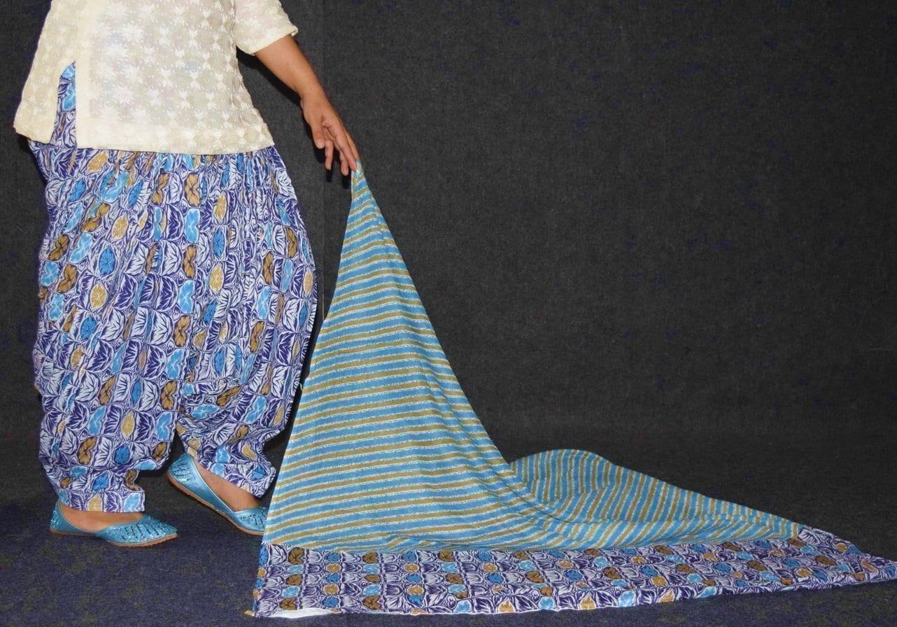 100% Pure Cotton FULL Patiala Salwar + matching cotton printed dupatta PSD179 3