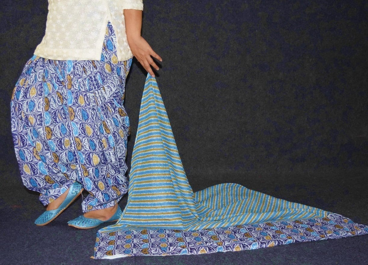 100% Pure Cotton FULL Patiala Salwar + matching cotton printed dupatta PSD179 4