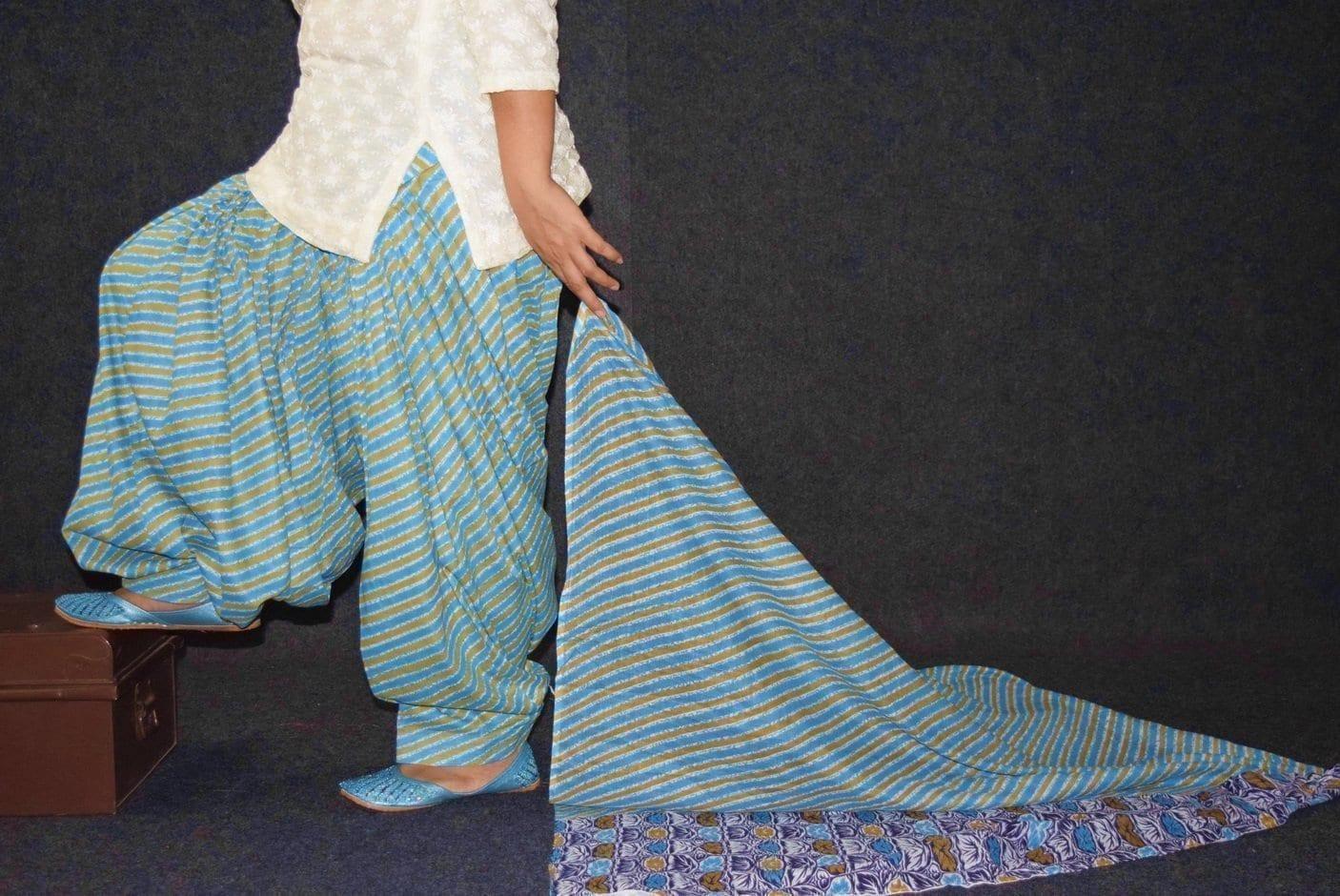 100% Pure Cotton FULL Patiala Salwar + matching cotton printed dupatta PSD180 1