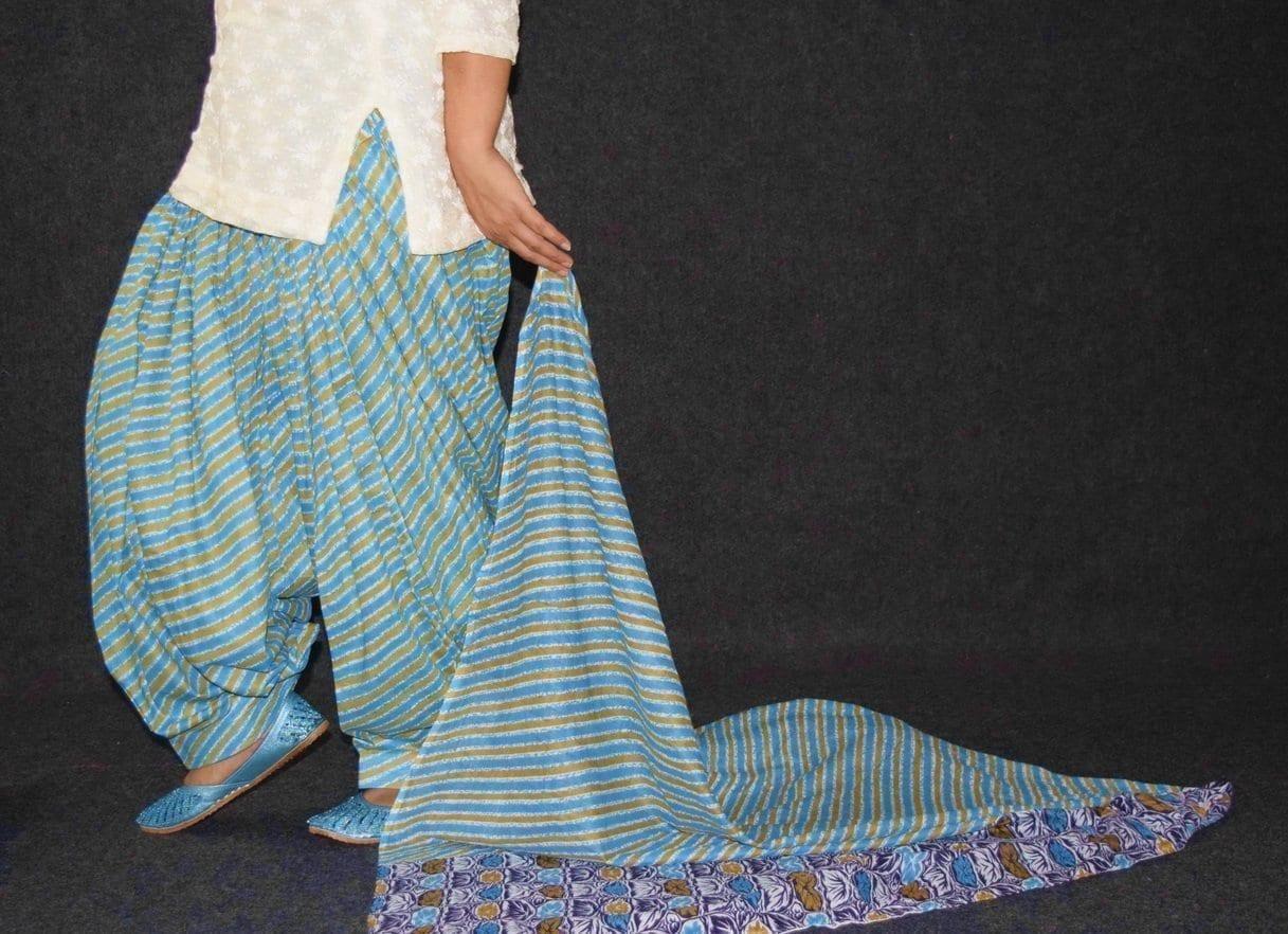 100% Pure Cotton FULL Patiala Salwar + matching cotton printed dupatta PSD180 4