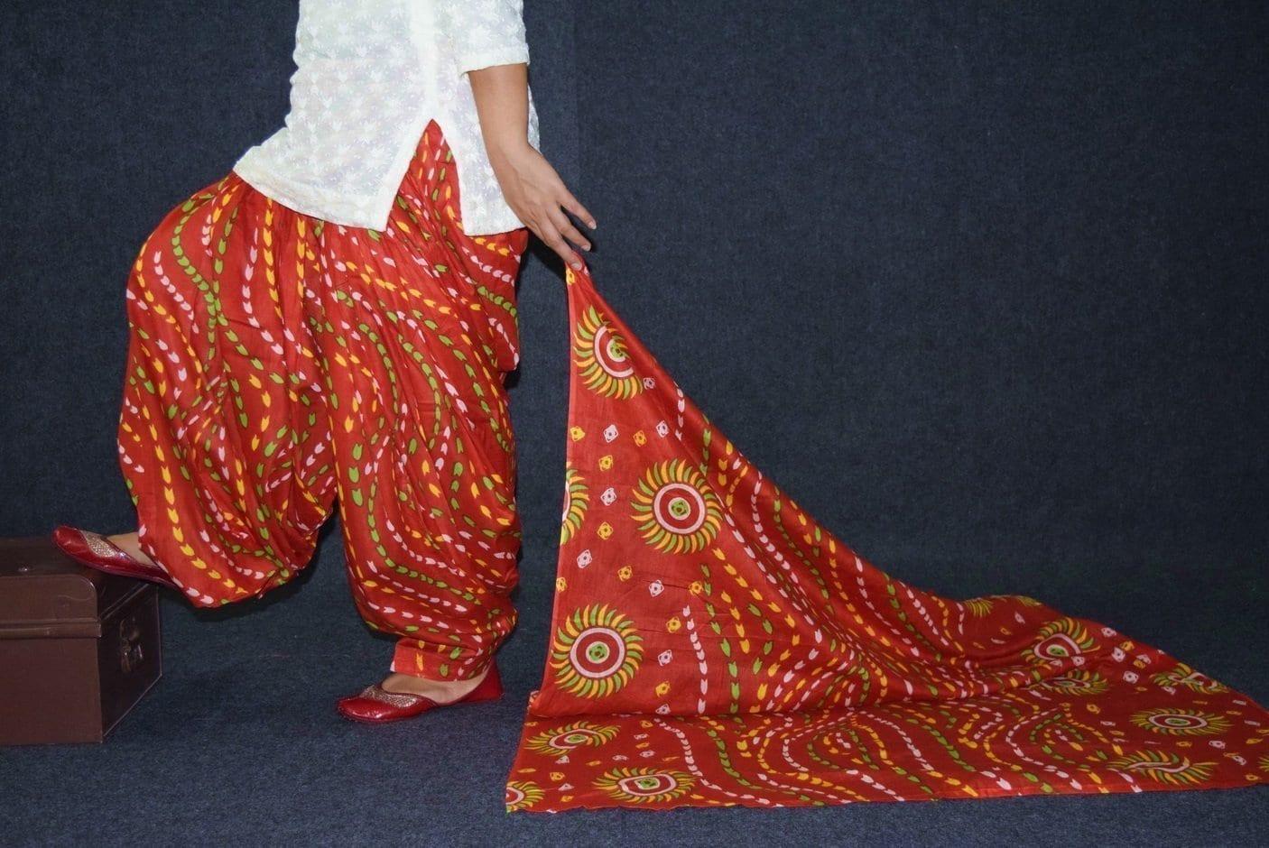 100% Pure Cotton FULL Patiala Salwar + matching cotton printed dupatta PSD184 1