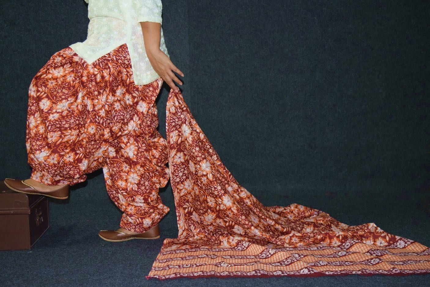 100% Pure Cotton FULL Patiala Salwar + matching cotton printed dupatta PSD185 2
