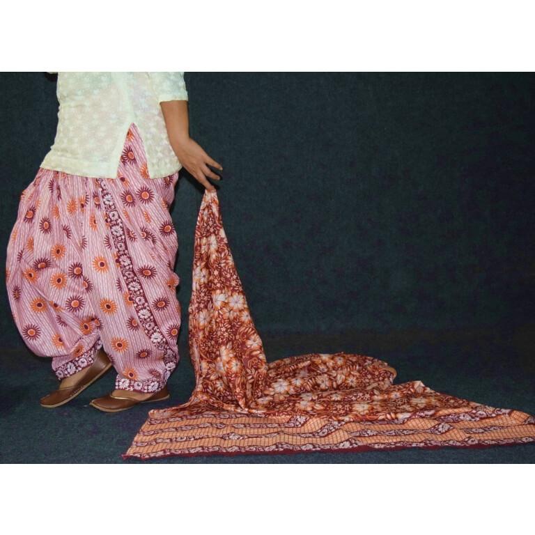 100% Pure Cotton FULL Patiala Salwar + matching cotton printed dupatta PSD186