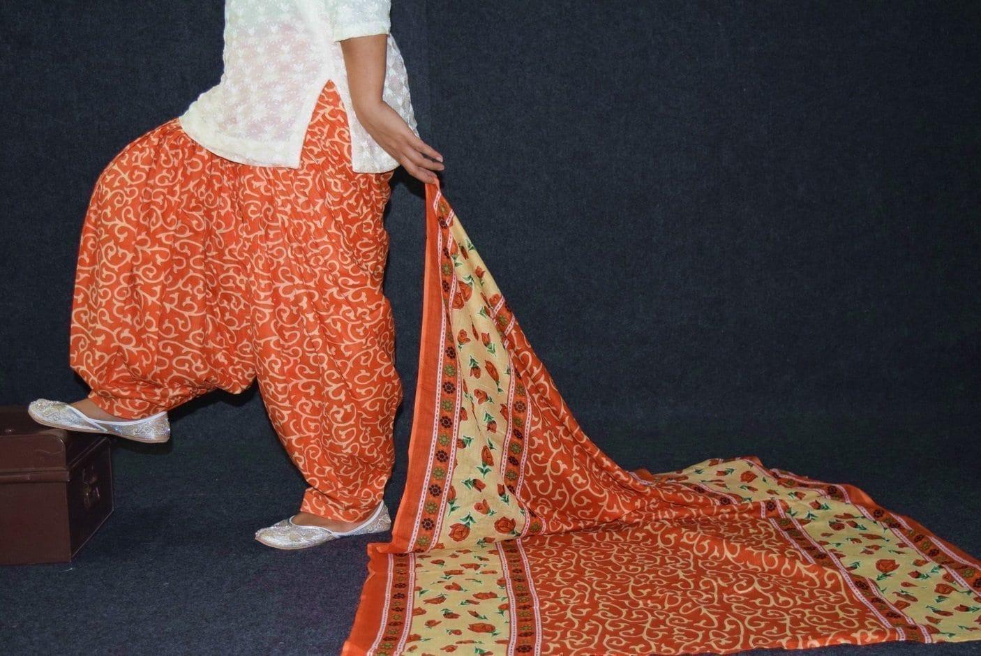 100% Pure Cotton FULL Patiala Salwar + matching cotton printed dupatta PSD187 1