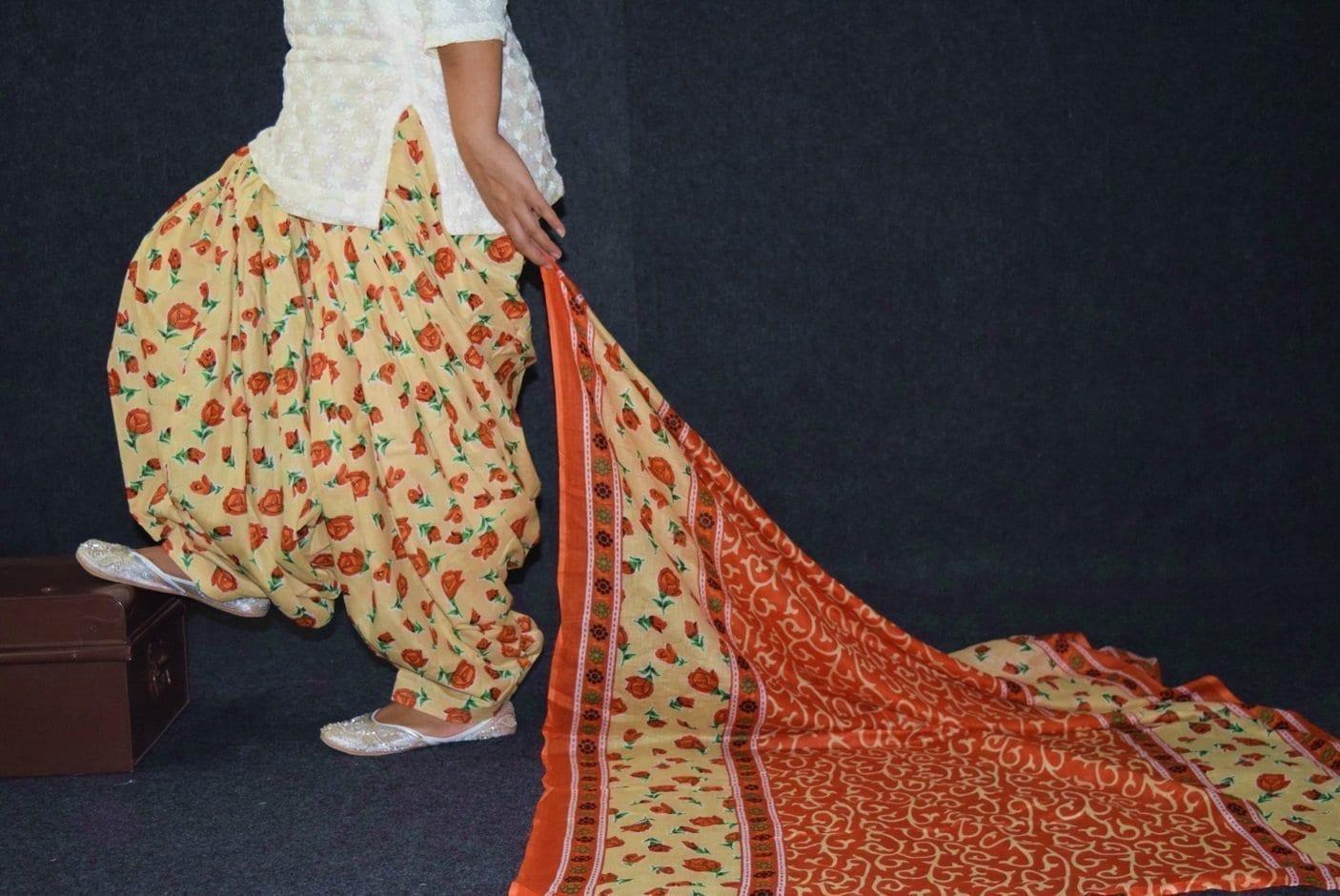 100% Pure Cotton FULL Patiala Salwar + matching cotton printed dupatta PSD188 1
