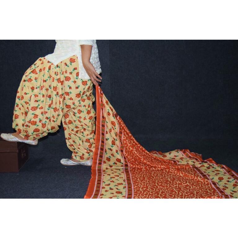 100% Pure Cotton FULL Patiala Salwar + matching cotton printed dupatta PSD188