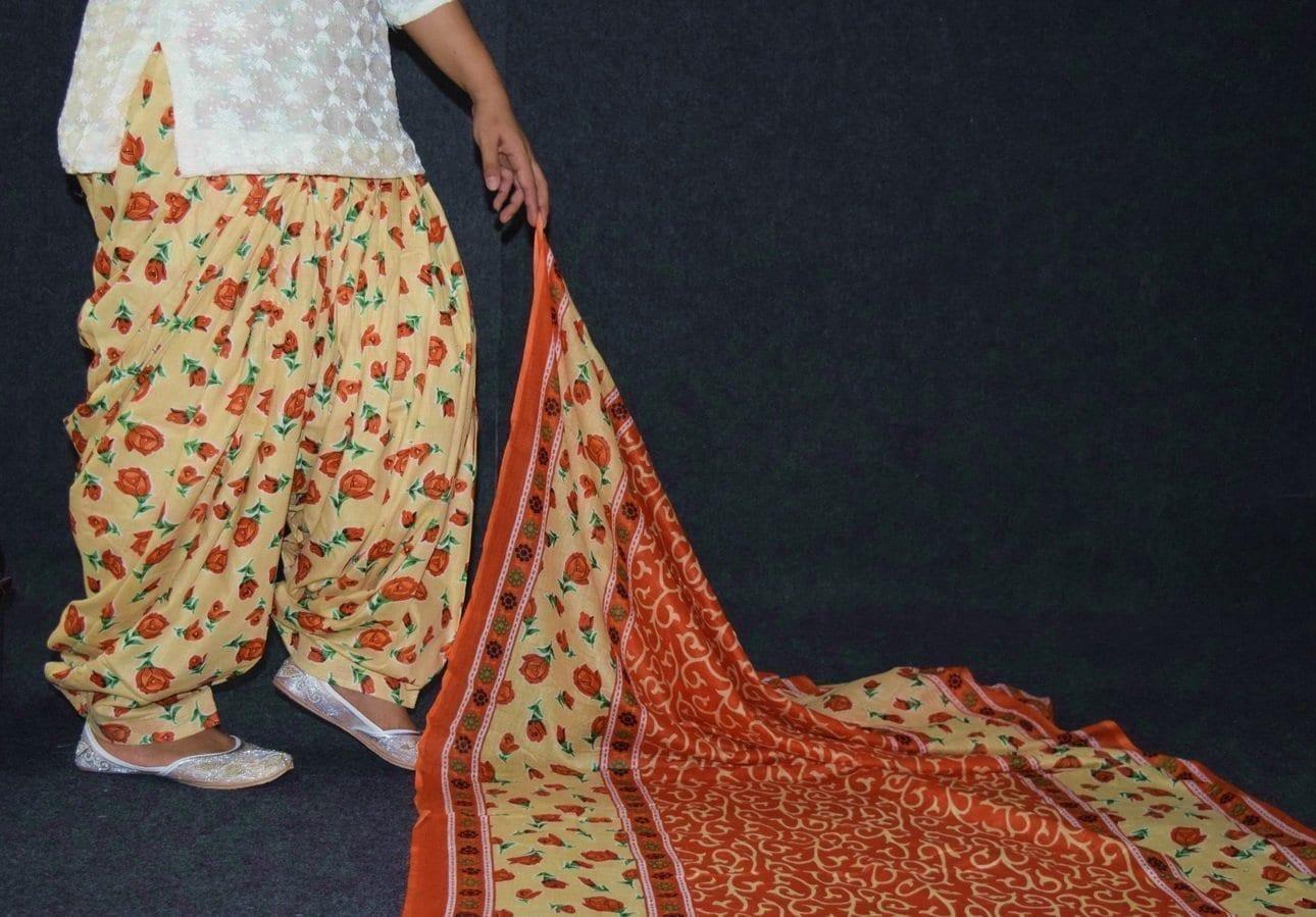 100% Pure Cotton FULL Patiala Salwar + matching cotton printed dupatta PSD188 3