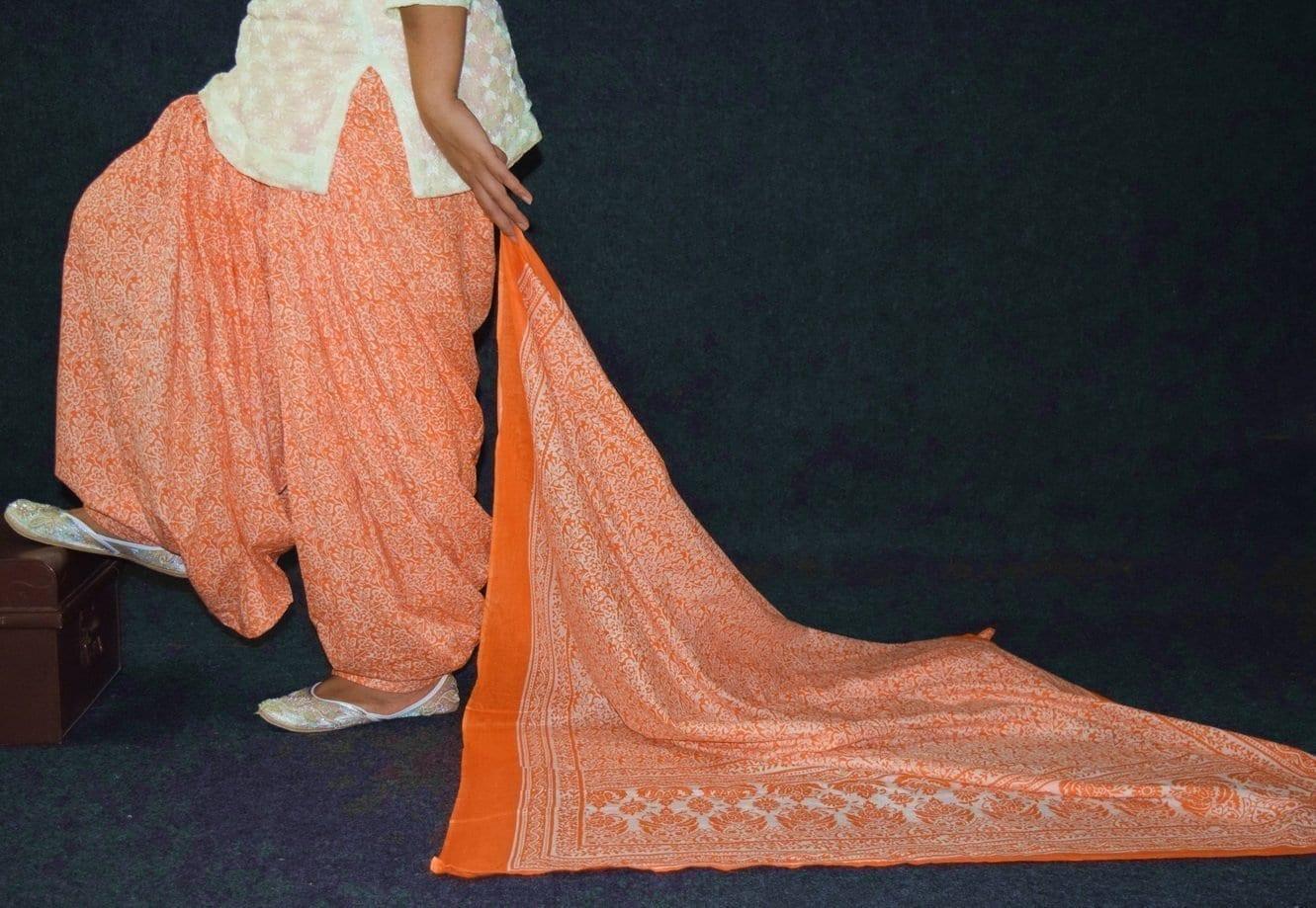 100% Pure Cotton FULL Patiala Salwar + matching cotton printed dupatta PSD191 1
