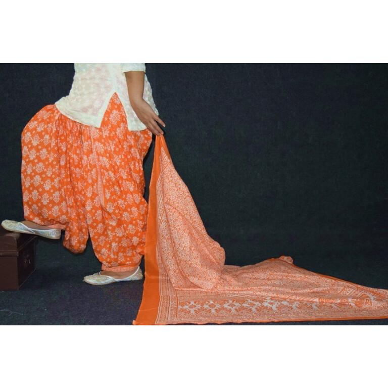 100% Pure Cotton FULL Patiala Salwar + matching cotton printed dupatta PSD192