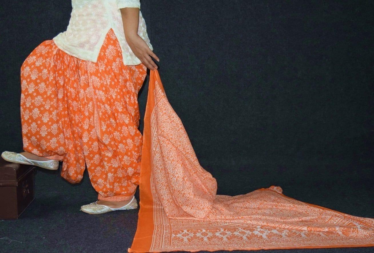 100% Pure Cotton FULL Patiala Salwar + matching cotton printed dupatta PSD192 1