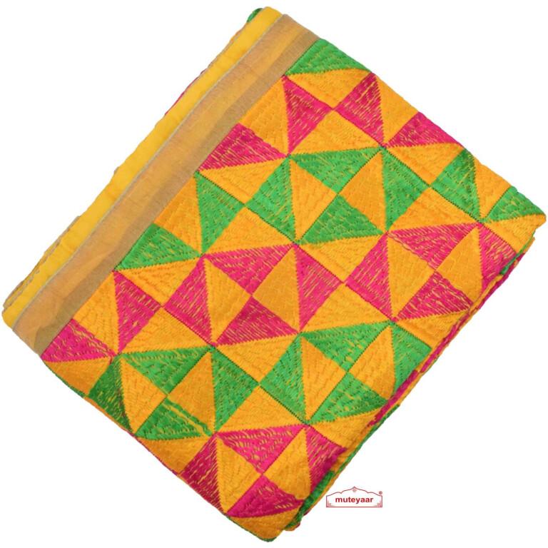 Yellow Heavy Phulkari Dupatta D0883