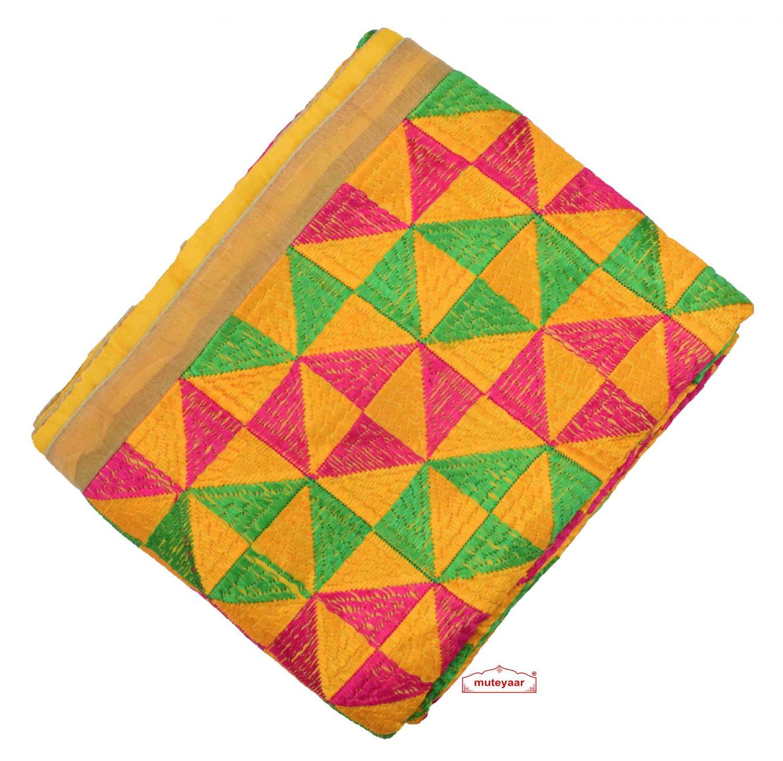 Yellow Heavy Phulkari Dupatta D0883 1