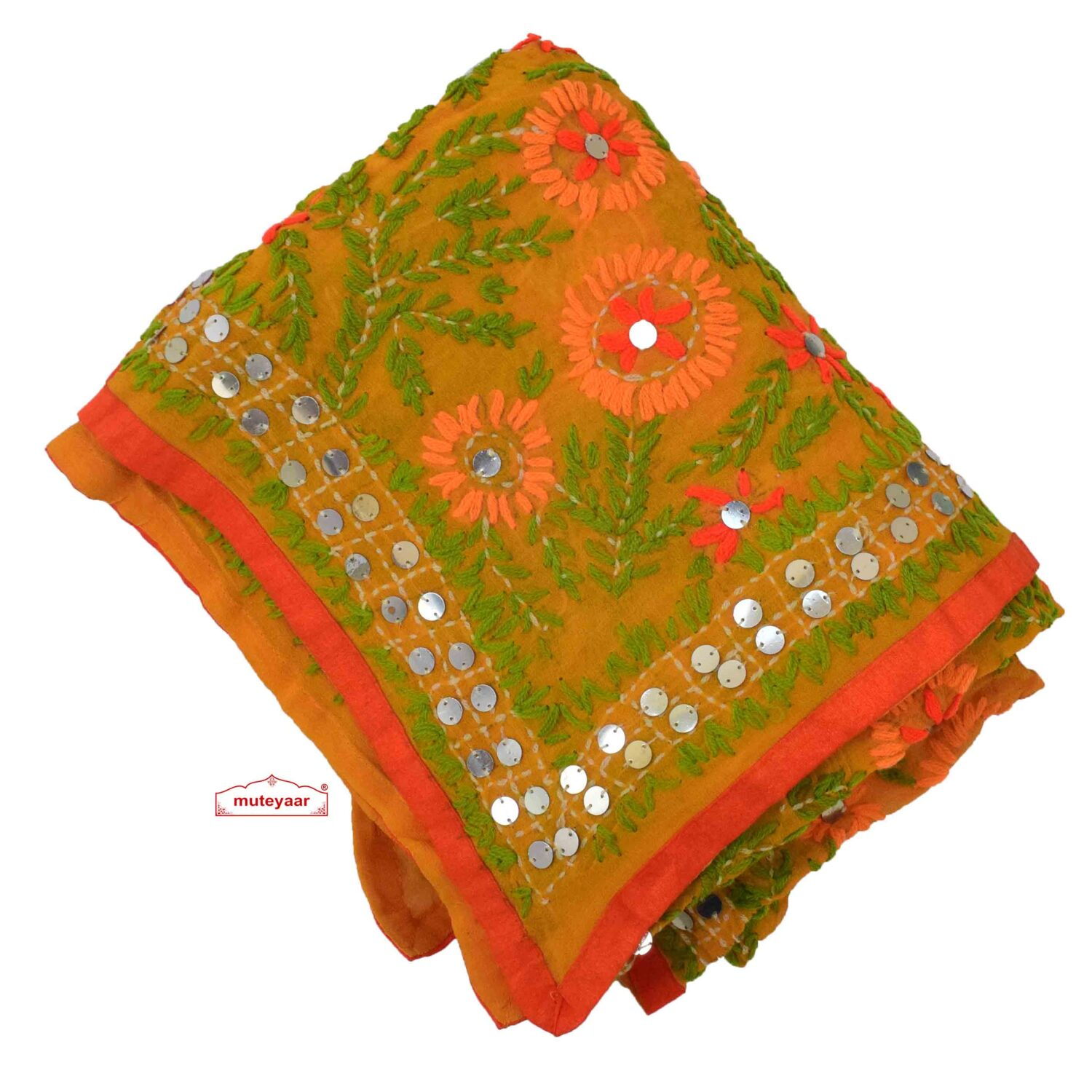 Georgette Hand Embroidered Kantha Dupatta D0894