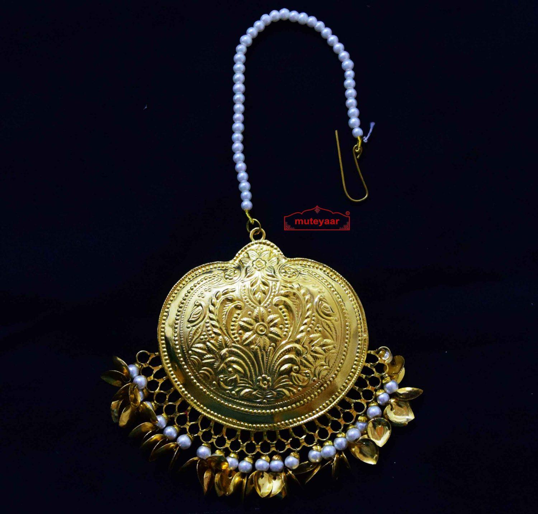 24 Ct. Gold Plated Big Size Traditional Punjabi Tikka Maang Teeka J0182 1