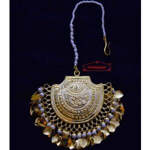 Real Gold Plated Big Size Traditional Punjabi Tikka Maang Teeka J0183