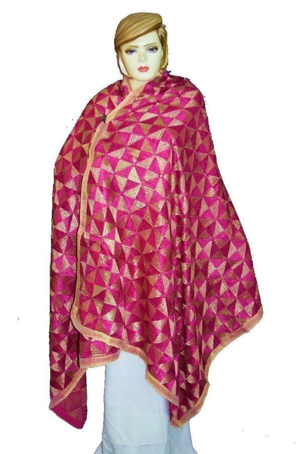 BRIDAL JAAL  PHULKARI Dupatta M/C Embroidered Party wear FAUX CHINON Chunni D0876