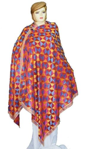 BRIDAL JAAL  PHULKARI Dupatta M/C Embroidered Party wear FAUX CHINON Chunni D0879