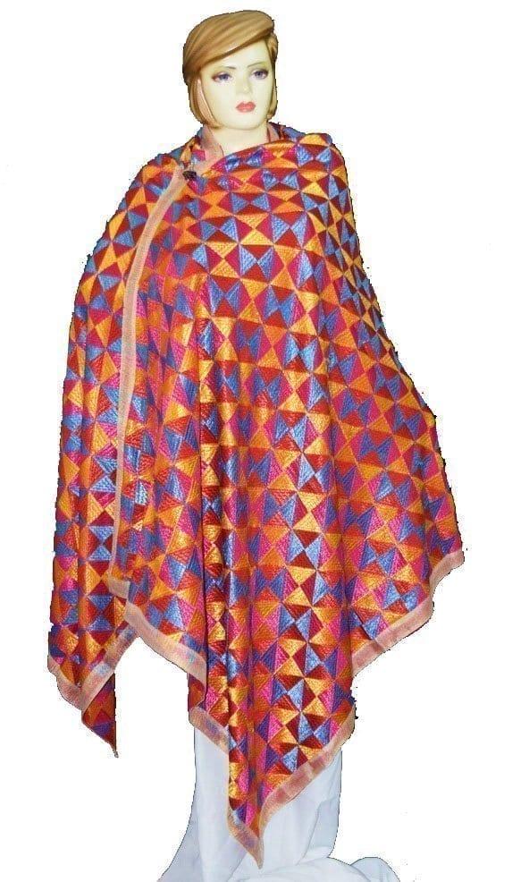 BRIDAL JAAL  PHULKARI Dupatta M/C Embroidered Party wear FAUX CHINON Chunni D0879