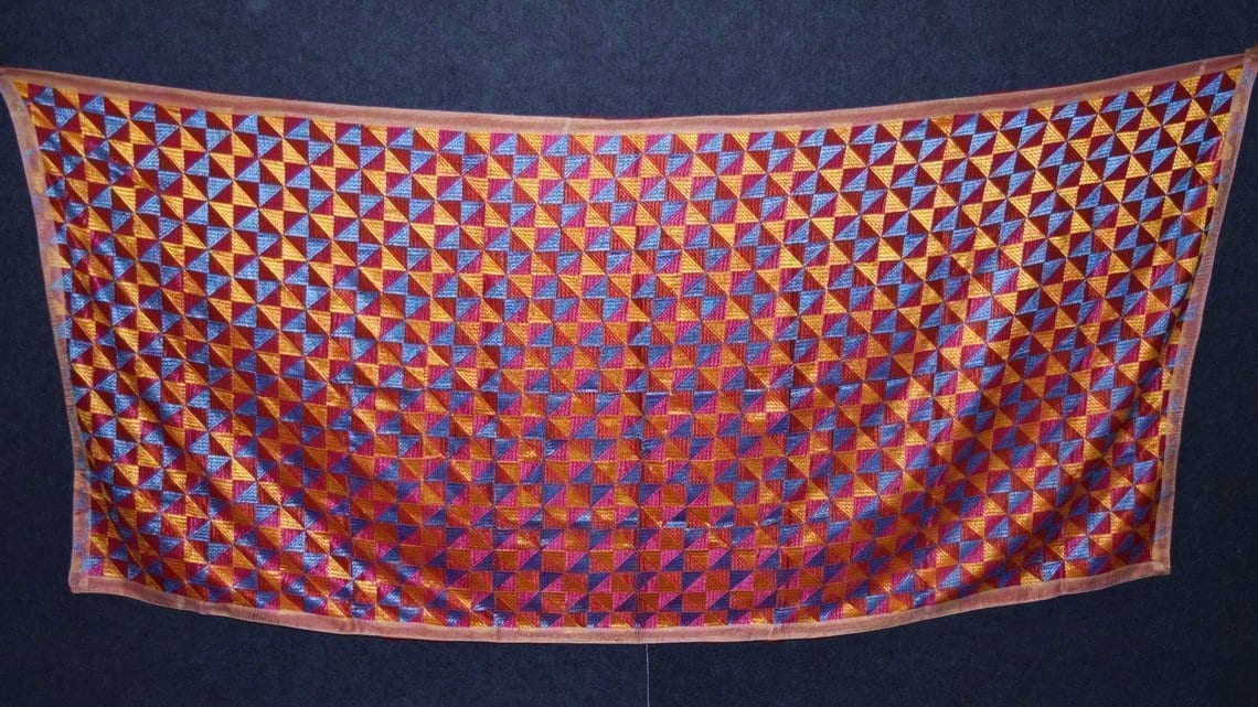 BRIDAL JAAL  PHULKARI Dupatta M/C Embroidered Party wear FAUX CHINON Chunni D0879 3