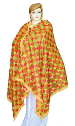 BRIDAL PHULKARI Dupatta M/C Embroidered Party wear FAUX CHINON Chunni D0881