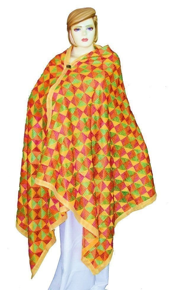 BRIDAL PHULKARI Dupatta M/C Embroidered Party wear FAUX CHINON Chunni D0881 1