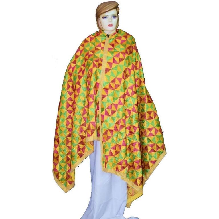 BRIDAL Yellow Heavy Phulkari Dupatta D0883 Dupatta M/C Embroidered Party wear FAUX CHINON Chunni D0883