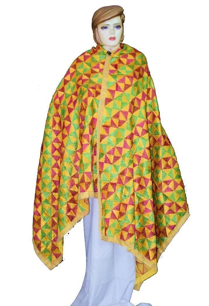BRIDAL PHULKARI Dupatta M/C Embroidered Party wear FAUX CHINON Chunni D0883 1