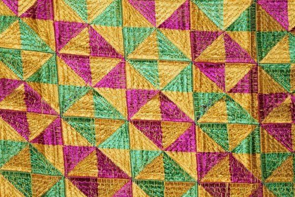 BRIDAL PHULKARI Dupatta M/C Embroidered Party wear FAUX CHINON Chunni D0883