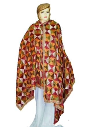 BRIDAL PHULKARI Dupatta M/C Embroidered Party wear FAUX CHINON Chunni D0886