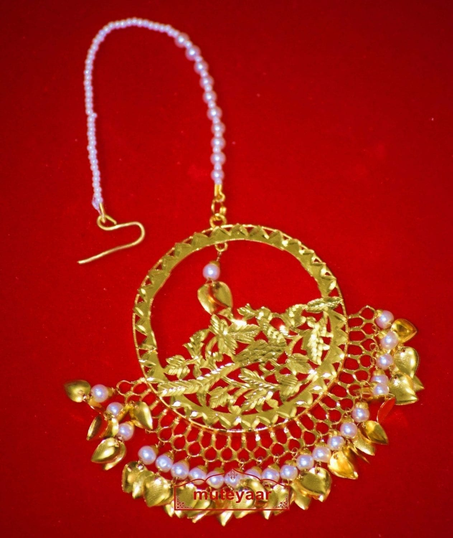 24 Ct. Gold Plated Big Size Traditional Punjabi Tikka Maang Teeka J0180 1