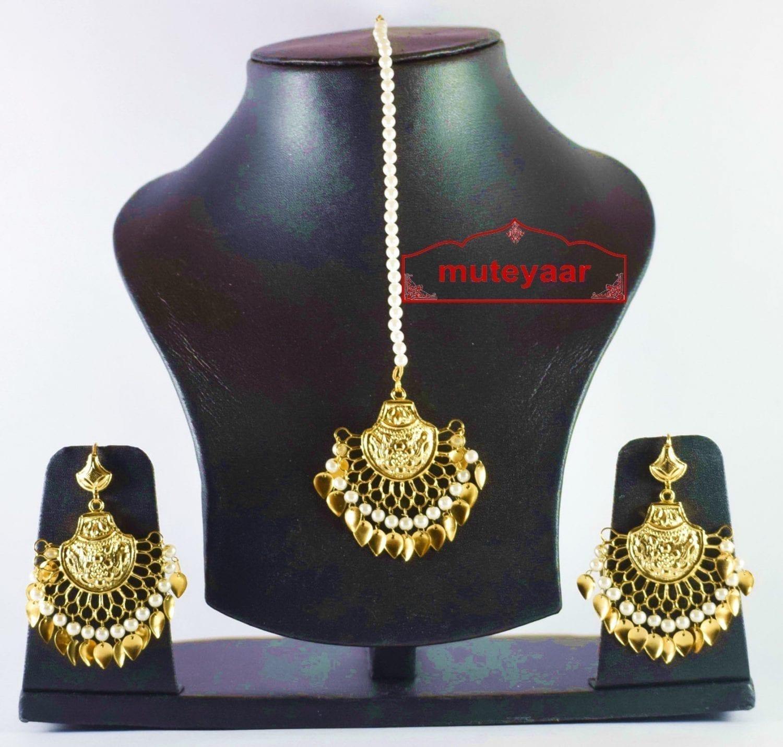 Gold Plated Traditional Punjabi Jewellery Earrings + Tikka set J0247 2