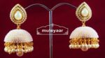 Moti Pearl Jewellery Gold Polish Traditional Punjabi Earrings Jhumka J0311