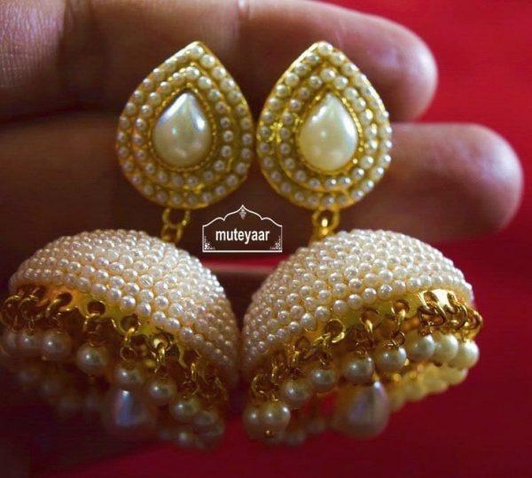 Moti Pearl Jewellery Gold Polish Traditional Punjabi Earrings Jhumka J0311