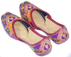 Traditional Embroidered Hand Made Leather Punjabi Jutti Bridal Shoes PJ9767