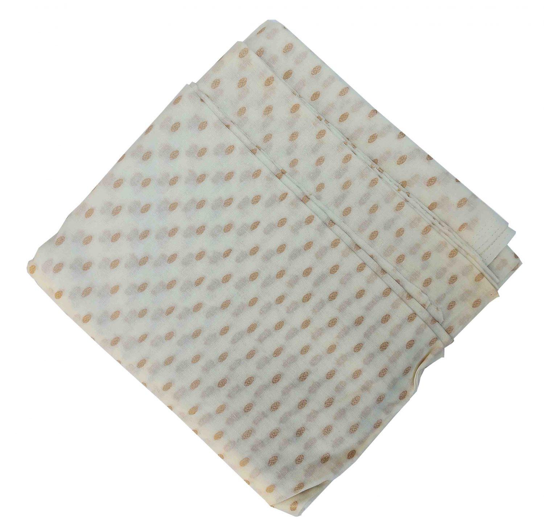 Pure Cotton White Base with Golden Dots Plain Suit piece of 5 meters length CJ019 1