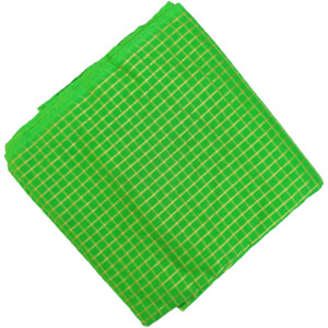 Parrot Green Golden Check Pure Cotton Plain Suit piece of 5 meters length CJ021