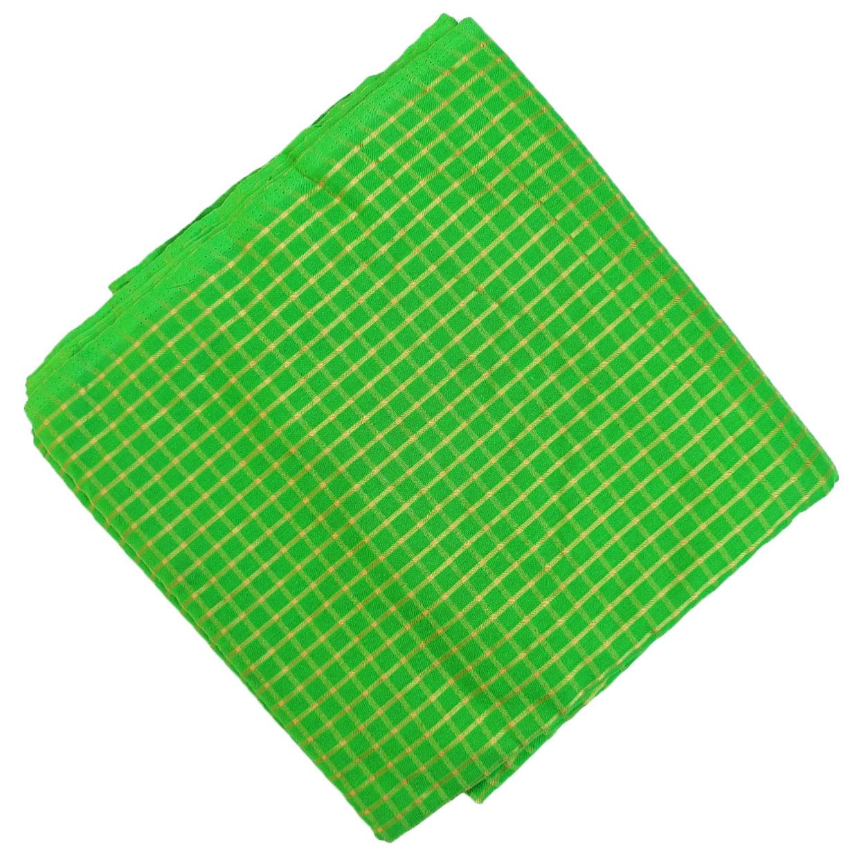 Parrot Green Golden Check Pure Cotton Plain Suit piece of 5 meters length CJ021 1