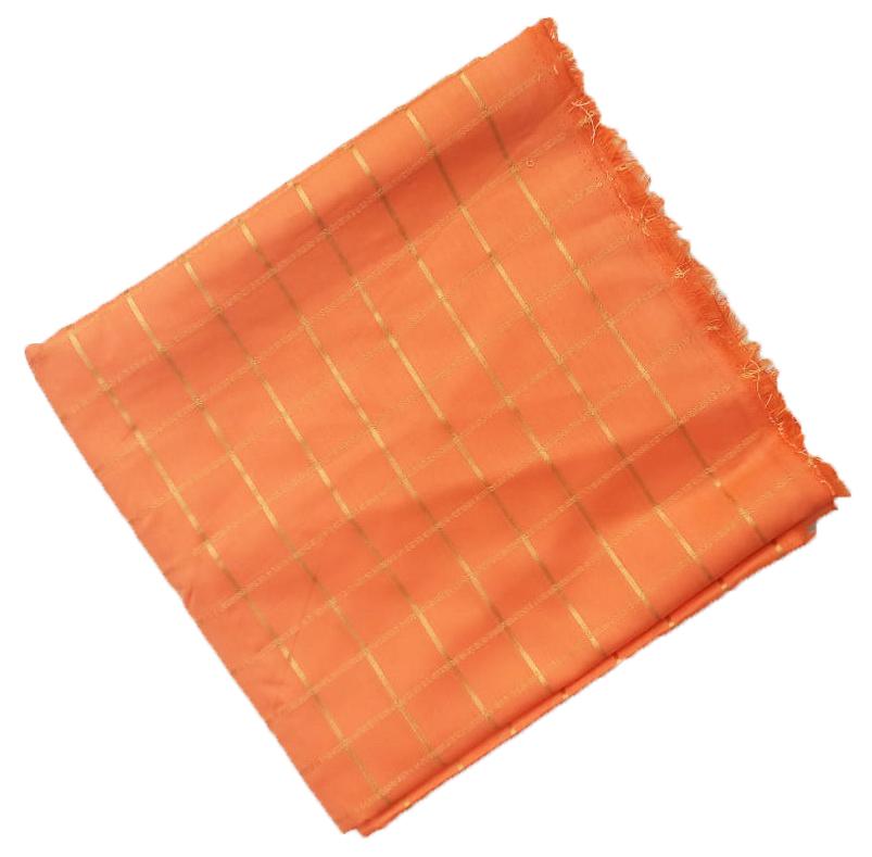 Peach Jaam Cotton Silk Golden Check Suit Piece of 5 meters length CJ022 1