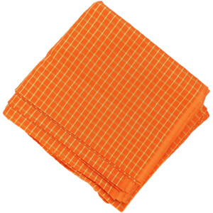 Orange Pure Cotton Base with Golden Check Plain Suit piece of 5 meters length CJ027